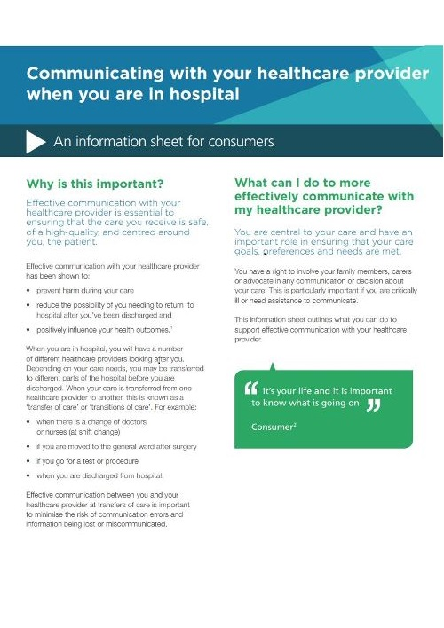 Fact sheet on Communicating with your healthcare provider in hospital