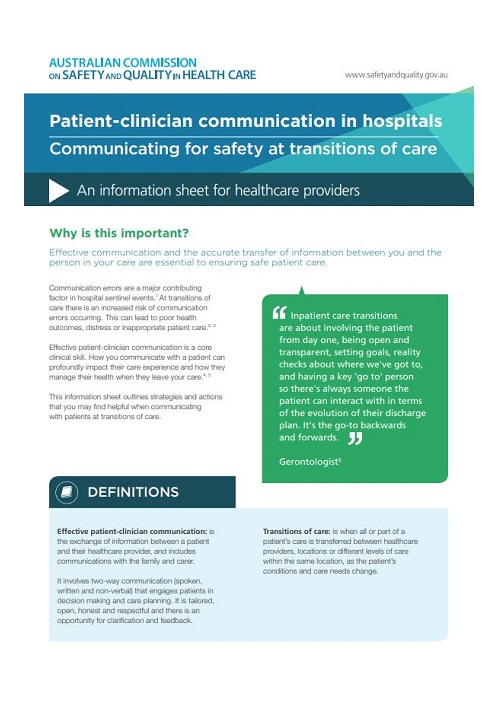 Patient-clinician communication in hospitals at transitions of care