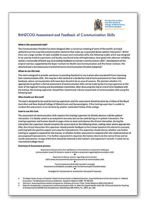 RANZCOG Adapted Kalamazoo communication checklist
