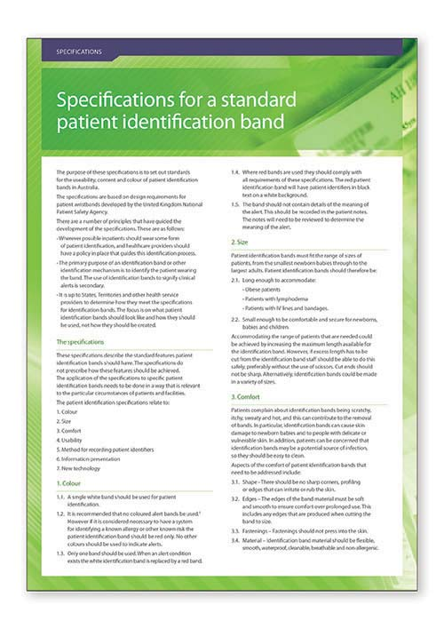 Specifications for a standard patient identification band