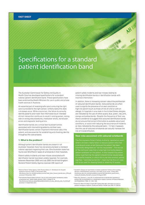 Fact sheet – specifications for a standard patient identification band