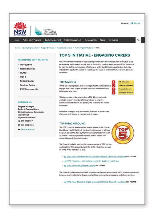 Top 5 Initiative – Engaging Carers resources – NSW Clinical Excellence Commission