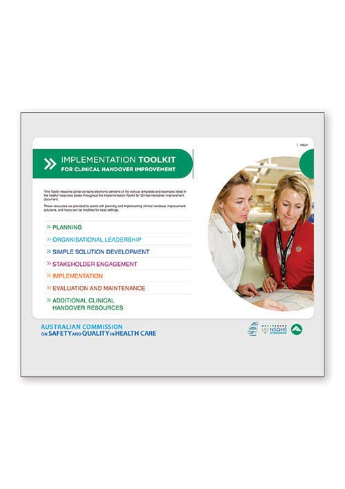 Implementation toolkit for clinical handover: Resource portal
